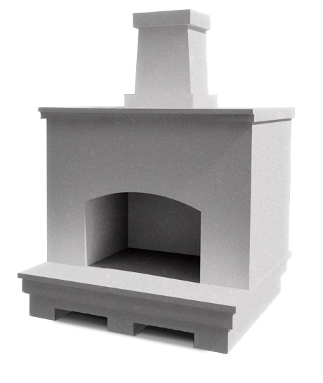 A blank fireplace, able to be built completely custom to your design aesthetics.
