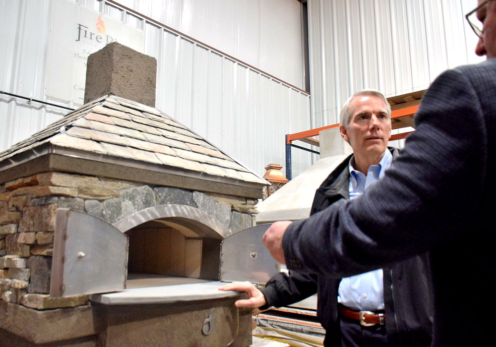 fire pie oven in a warehouse